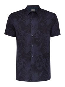 Linea Graye Tonal Botanical Floral Short Sleeve Shirt