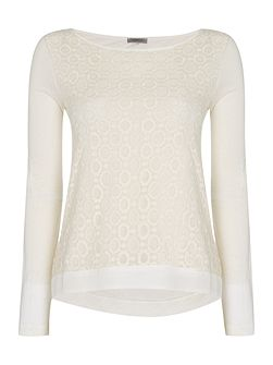 Odino round neck long sleeve lace front top