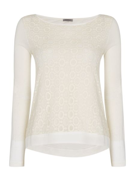 Marella Odino round neck long sleeve lace front top