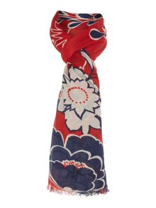 Linea Floral Print Poly Twill Scarf