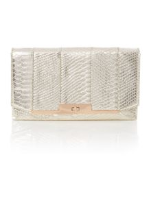 Juno Gold snake clutch bag