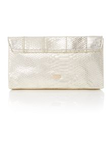 Gold snake clutch bag