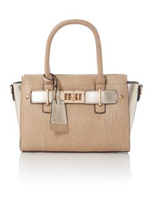 Taupe tote cross body bag