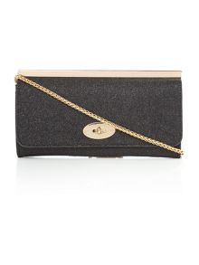 Black flapover chain clutch bag