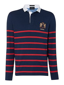 St Malo long sleeve striped rugby shirt