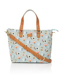 Ollie & Nic Bloom light blue trapeze tote bag