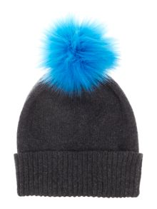 Helen Moore Cashmere hat with faux fur pom pom beanie