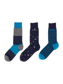3 pack stripe, print and plain socks