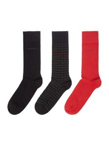 3 pack of logo print and solid socks