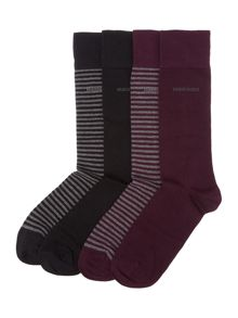 Hugo Boss 4 pack of solid and striped socks