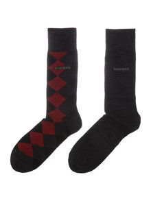 Hugo Boss 2 pack of argyle wool blend socks