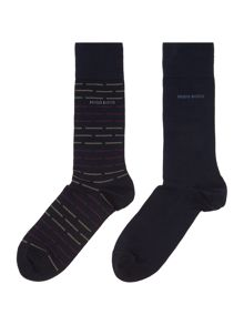 Hugo Boss 2 pack of stripe and solid socks
