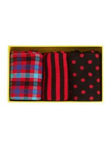 3 pack X-mas stripe, check and dot socks giftbox