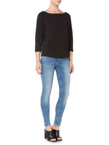 Calvin Klein 3/4 sleeve joya grid top