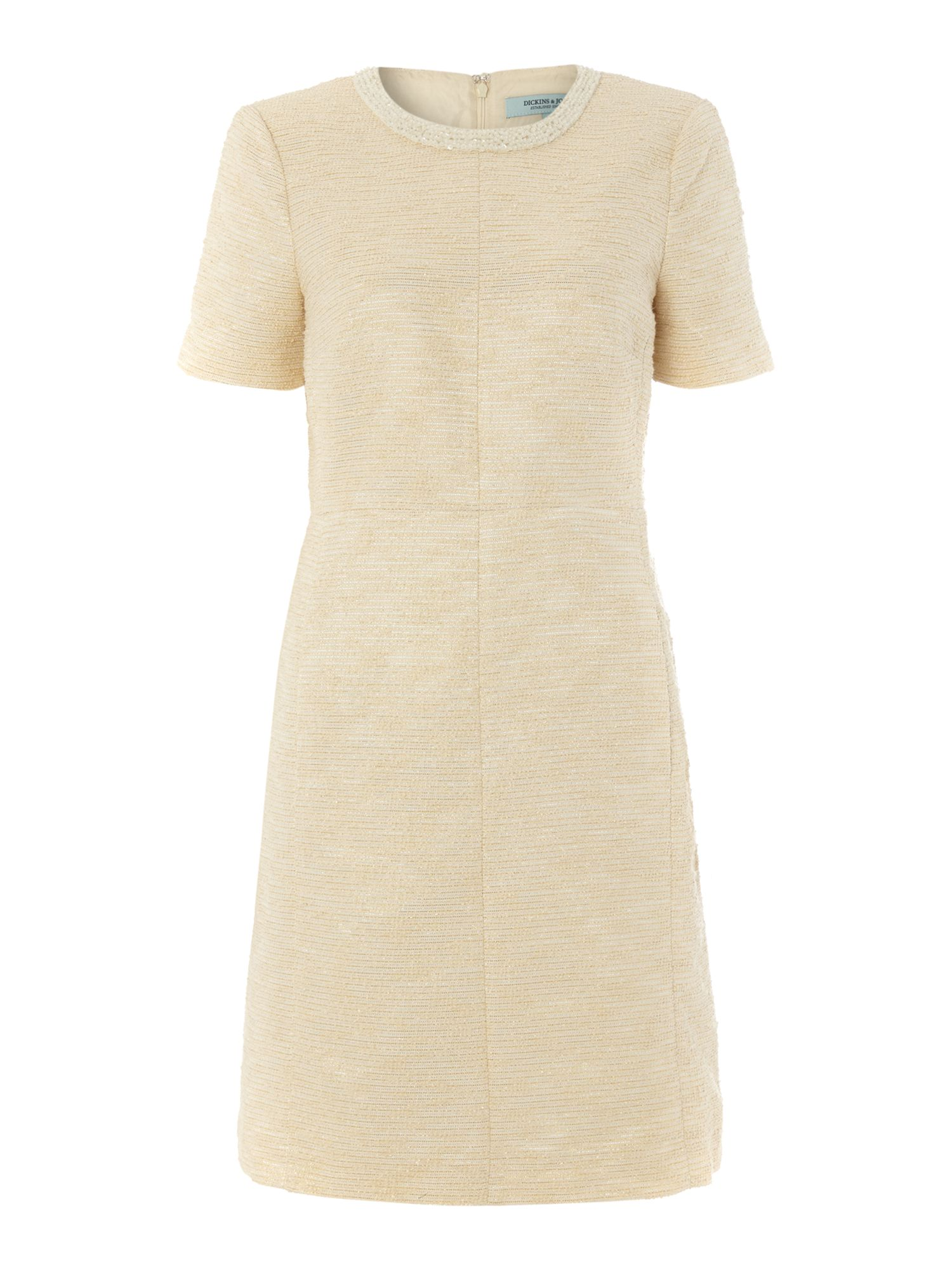Dickins & Jones Embellished Neckline Shift Dress, Nude