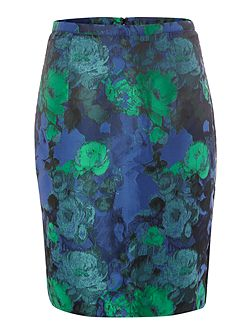 Jacquard and Lace Pencil Skirt