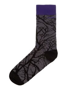Dark forest print ankle sock