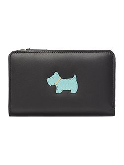 Heritage dog medium black zip around purse