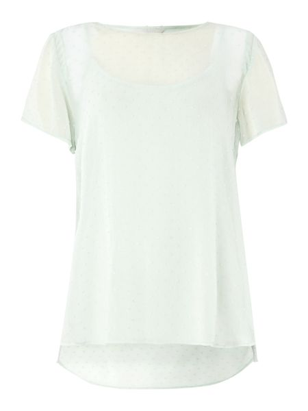 Gray & Willow Dobby woven embroidered detail tee