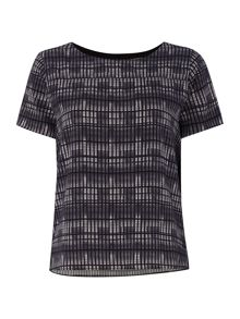 Calvin Klein Short sleeve elica grid print top