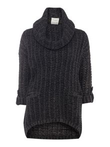 3/4 Sleeve Cowl Neck Knitted Jumper