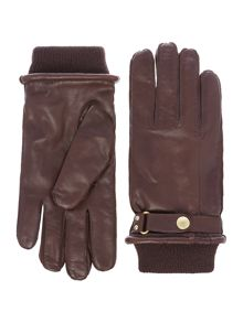 Paul Smith London Leather gloves with ribbed cuff