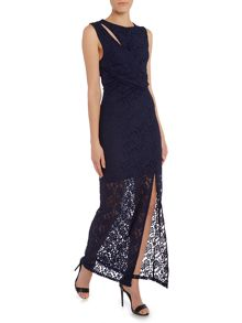 Sleeveless Lace Gathered Waist Maxi Dress