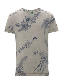 Benetton Boys Tropical leaf print tee