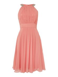 Eliza J Beaded halter neck chiffon dress