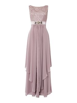 Eliza J Lace top gown with beaded waist