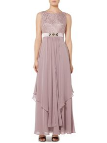 Eliza J Lace top gown with beaded waist detail