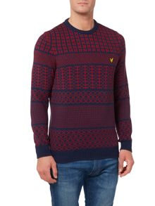 Lyle and Scott Fairisle Crew Neck Knitted Jumper