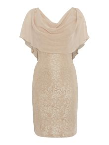 Eliza J Lace dress with drapped chiffon overlay