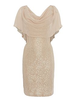 Lace dress with drapped chiffon overlay