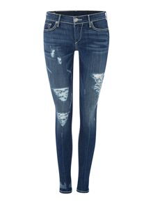 True Religion Casey skinny super t jean in eletric blue