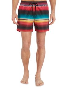 Printed stripe short length swim shorts