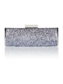 Grey glitter clutch bag