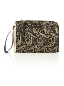 Lipsy Black gold lace clutch bag
