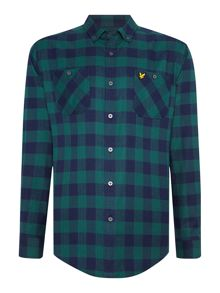 Lyle and Scott Herringbone Flannel Check Long Sleeve Shirt