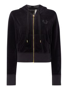 True Religion Velour cropped zip up hoodie