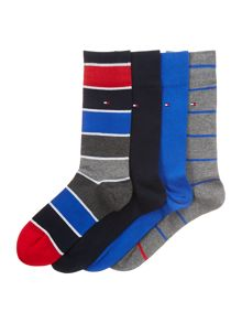 4 pack of stripe and solid socks