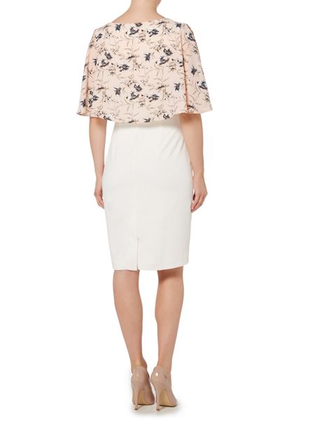 Shubette Shift dress with floral cape overlay