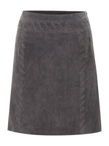 Whipstitch suede skirt