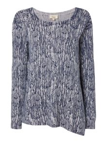 Linea Weekend Knit drift print asymmetric jumper