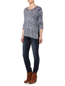 Knit drift print asymmetric jumper