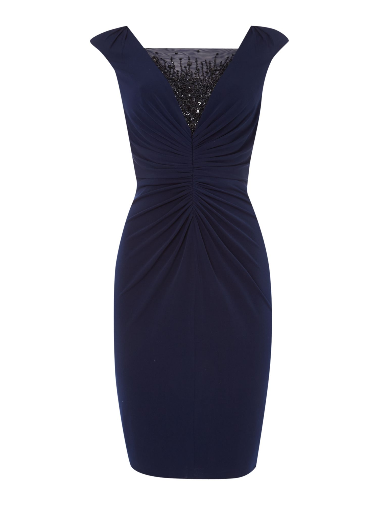JS Collections Shirred jersey cocktail beaded dress, Blue