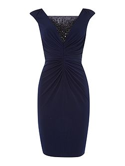 Shirred jersey cocktail beaded dress