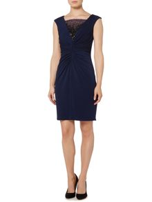 JS Collections Shirred jersey cocktail beaded dress
