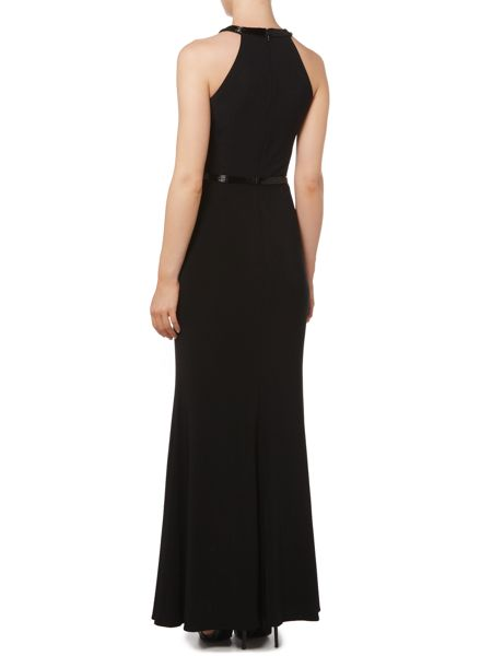 JS Collections Jersey gown with halter neck