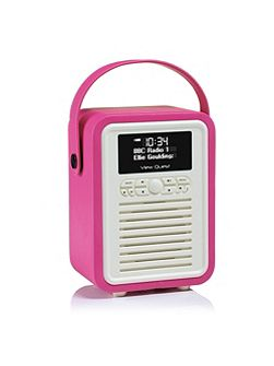 Retro Mini DAB+ Radio & Bluetooth Speaker, Pink